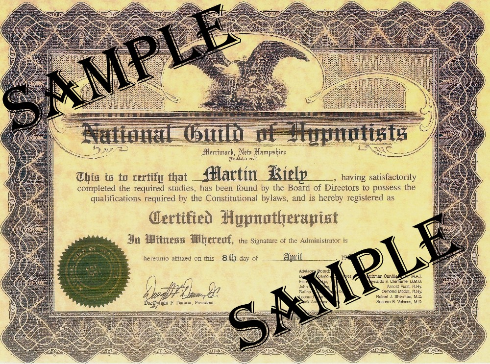National Guild of Hypnotists Consulting Hypnotist Sample Certificate | Hypnosis Training Ireland